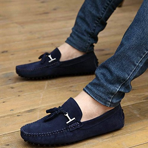 Men's Ons Loafers Slip Blue Flats Suede 8qv8Fgw