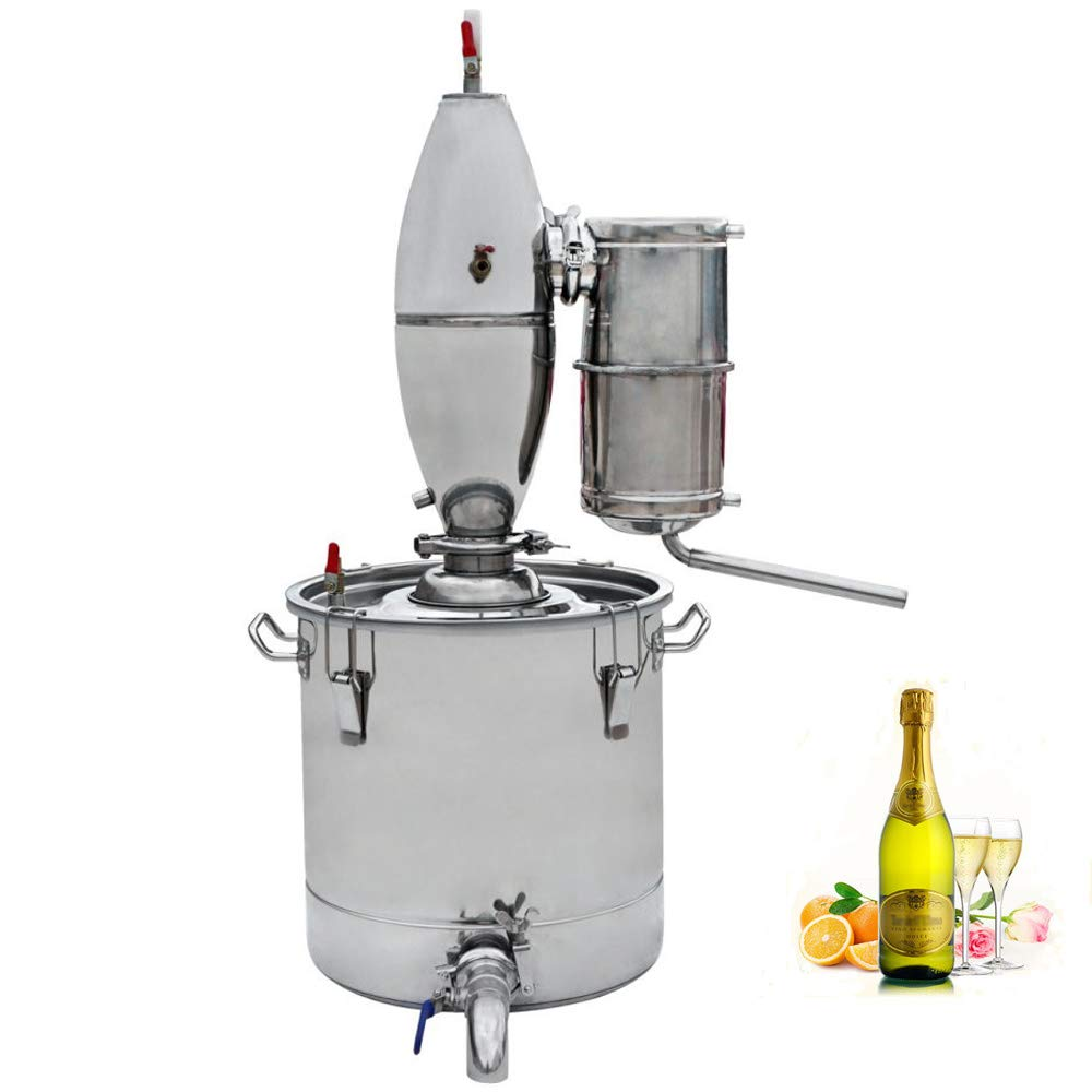 ECO-WORTHY 30L 7.9 Gal Water Alcohol Distiller Kit 304 Stainless Steel Distillery Moonshine Wine Making Boiler with Thermometer Home Brewing Kit by ECO-WORTHY