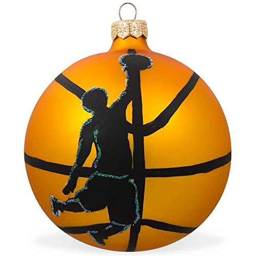 BestPysanky Basketball Player Dunk Glass Ball Christmas Sports Ornament 4 Inches