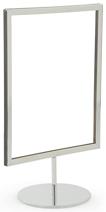 - Set of 10 Displays2go RD8511CMMS 8.5 x 11 Pedestal Sign Frames for Countertop Use Top-Loading for 1//8-inch Poster Board Steel Chrome