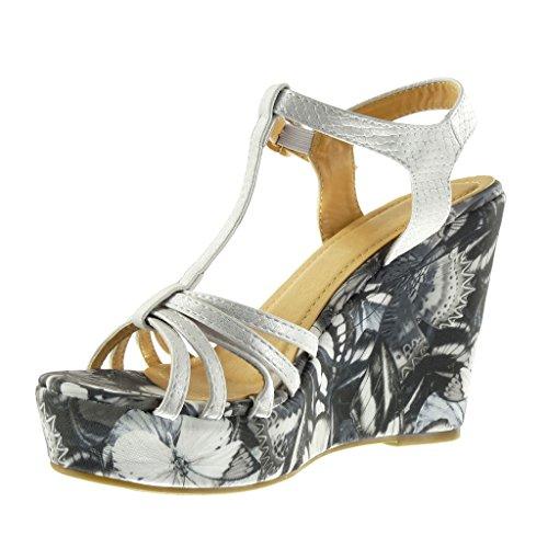 Fleurs Angkorly 11 Bride Talon CM 5 Plateforme Blanc Compensé Sandale Salomés Multi Mode Mule Femme Chaussure Plateforme wqzqOrB10