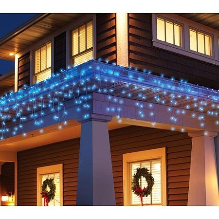 Wire Icicle Blue White Lights (300 Twinkling Blue Icicle Lights with White Wire by Holiday Time)
