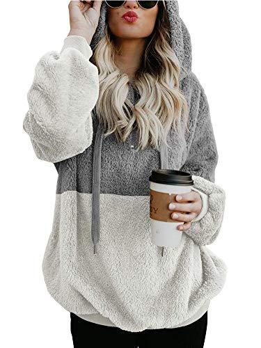 Women Long Sleeve Fleece Sweatshirt Zip Fluffy Sherpa Pullover Warm Outwear Kangaroo Pocket Light Grey XXXL -