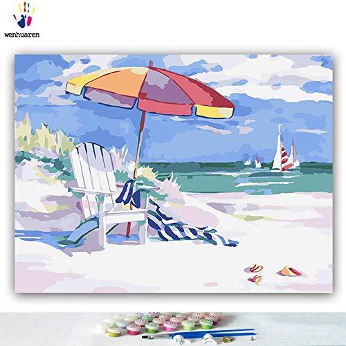KYKDY con Foto di Coloreeei fai da te con numeri con KYKDY Coloreeei Paesaggio marino da spiaggia Foto di stile mediterraneo disegno pittura con numeri incorniciati Home, 86016,80x100 senza cornice c9f24f