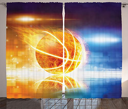 """Ambesonne Basketball Curtains, Abstract Sports Background Burning Basketball with Digital Reflection Art Print, Living Room Bedroom Window Drapes 2 Panel Set, 108"""" X 90"""", Yellow Blue"""
