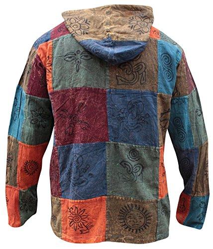 Shopoholic Fashion mit Kapuze steinwäsche Patchwork Blockmuster Opa Hippie Hemd