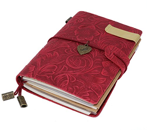 Sueroom 100% handcrafted Leather Vintage Traveler 's Notebook Flowers Embossed 5.3 X 4 Inch Customizable Journal & Refillable --Red