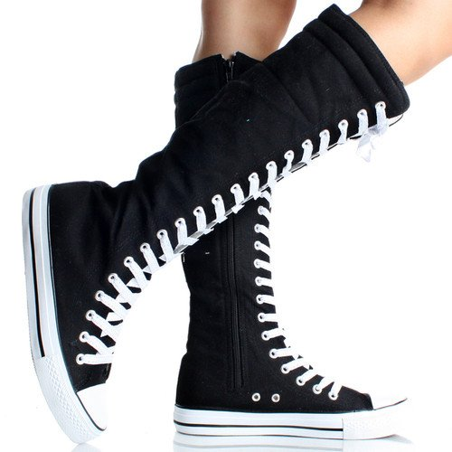 West Blvd Women S Tall Canvas Lace Up Knee High Sneakers