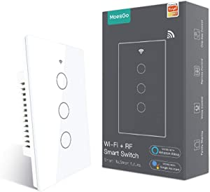 MoesGo WiFi RF433 Smart Touch Wall Switch No Neutral Wire Needed, Single Wire Smart Switch Compatible with Smart Life/Tuya App, Works with Alexa and Google Home 110V Single Pole White 3 Gang