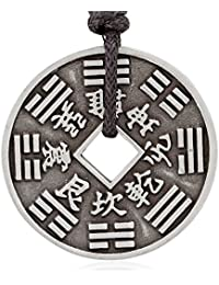 Two-Sided Chinese Coin Necklace Pendant Money Symbol, Fine Pewter Jewelry
