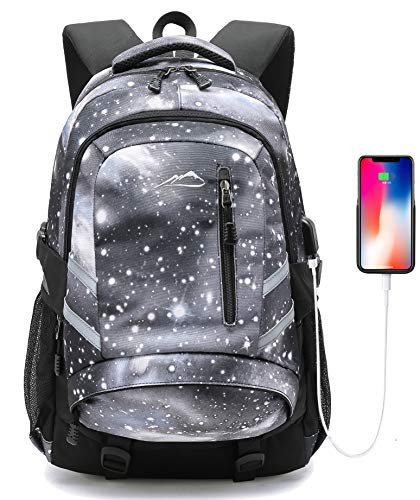 Backpack for School College Student Laptop Bookbag Business with USB Charging Port Night Light Reflective Luggage Chest Straps (Galaxy Type A01)