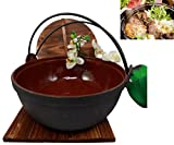 Atlantic Collectibles Japanese Cast Iron Sukiyaki Shabu Shabu Nabe Ramen Personal Size Hot Pot With Wooden Lid 11.5'' Diameter