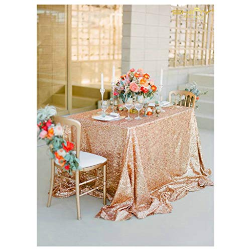 Sale!Select Your Size 54''x54'' Rose Gold Bell Tablecloths for Retro Weddings and Events Custom Size Sparkle Sequin Table Cloths Overlays and Linens -m92 ()