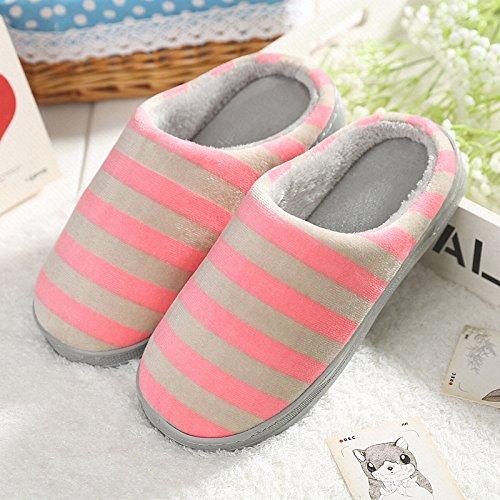 Y-Hui maschio pantofole di cotone pantofole amanti Home caldo inverno piscina antiscivolo fondo spesso Anti-Skid pantofole in inverno,40-41 (Fit per 39-40 piedi), Rosa (divieto Bao)