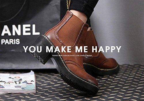 scarpe con tonda donna da bassi plateau Martin di stivali testa Block tendini Stivali brown stivaletti selvaggi neve KUKI all'estremità qFI1tWwRFn