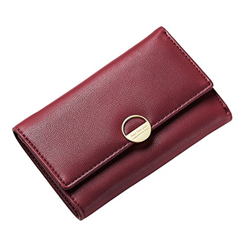 Wallets for Women Teens Leather Slim Wallet Bags Small Handbag Trifold Purse Zipper Pocket Leather Clutch Card Holder WineRed