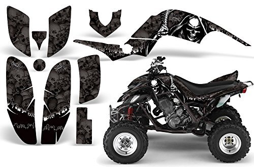 (2001-2005- Yamaha Raptor 660 AMRRACING ATV Graphics Decal Kit-Reaper-Black)