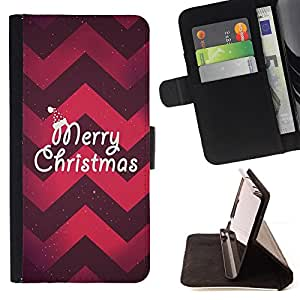 CHEVRON RED PURPLE MERRY CHRISTMAS XMAS/ Personalizada del estilo del dise???¡Ào de la PU Caso de encargo del cuero del tir????n del soporte d - Cao - For Samsung Galaxy S6 EDGE