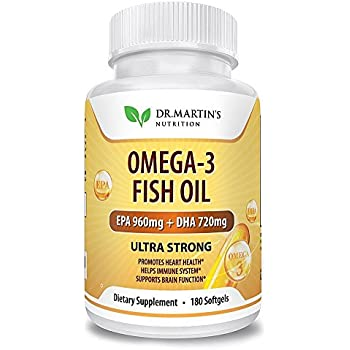Omega-3 Fish Oil 2500mg Triple Strength - 180 Burpless Softgels | EPA 960mg + DHA 720mg | 100% Organic & Natural | New formula | Promotes Healthy Heart, Immune System, Eyes, Skin & Brain Function