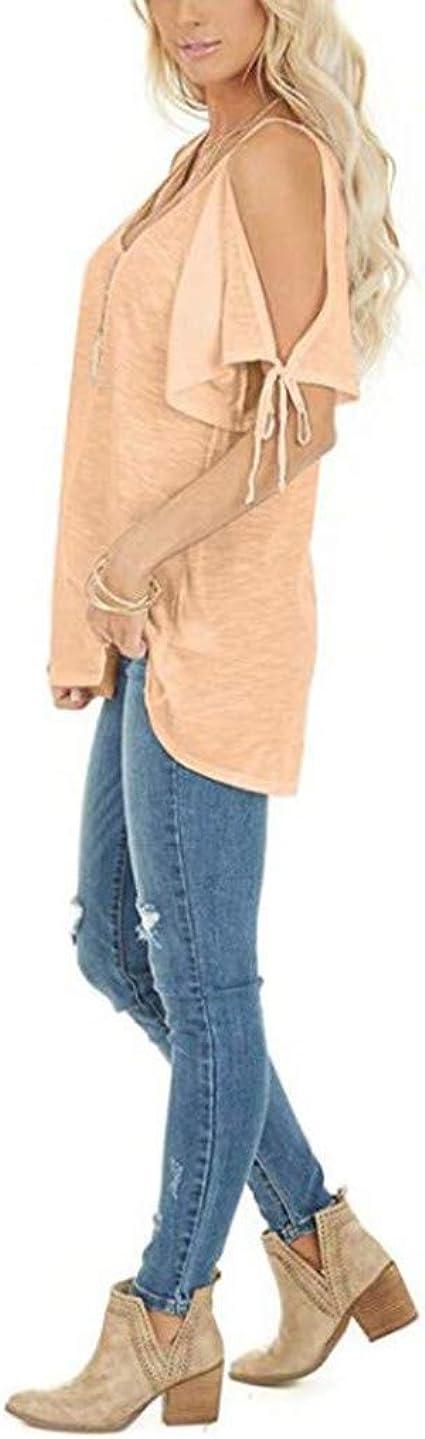 Newdiva Womens Off Shoulder T-Shirt Strappy Short Sleeve Solid V-Neck Summer Blouses Tops