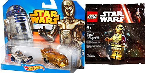 Lego Star Wars Exclusive C-3PO Mini Figure & Hot Wheels Star Wars R2-D2 + C-3PO Droid character cars 2 pack