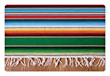 Lunarable Mexican Pet Mat for Food and Water, Boho Serape Blanket with Horizontal Stripes and Lines Authentic Cultures Picture, Rectangle Non-Slip Rubber Mat for Dogs and Cats, Multicolor