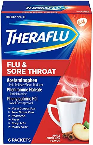 Theraflu Flu & Sore Throat Powder, Apple Cinnamon Flavor, 6 Packets
