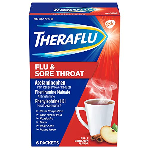 Theraflu Flu & Sore Throat Powder, Apple Cinnamon Flavor, 6 Packets (The Best Over The Counter Medicine For Sore Throat)