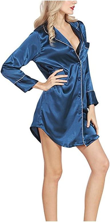 Morbuy Camisón para Mujer, Mujer Camisones Raso Camisa de Dormir Nightdress Elegante Manga Larga, Buttoned Collar de la Camisa con el Bolsillo: Amazon.es: Ropa y accesorios