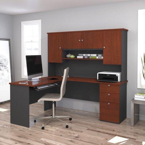 L-Shaped Workstation in Bordeaux and Graphite Finish - Bordeaux Corner L-shaped Desk