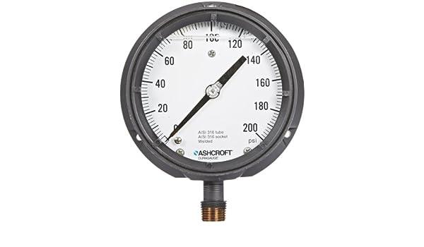 ASHCROFT 451379SSL04L200# Pressure Gauge,0 to 200 psi,4-1//2In