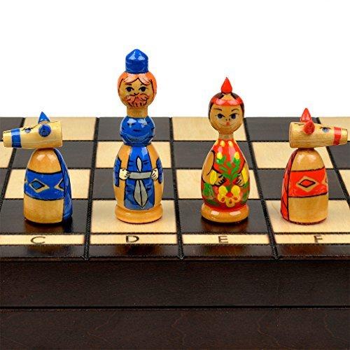 """Russian """"Babushka"""" Blue and Red International Chess Set - 16.5"""""""