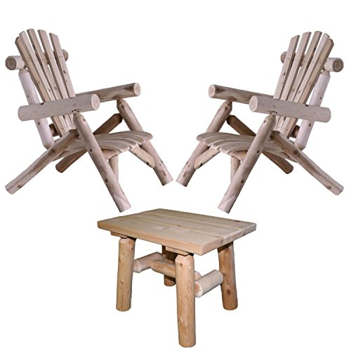 (Lakeland Mills Cedar Log Patio Lounge Chair (Set of 2) with End Table)