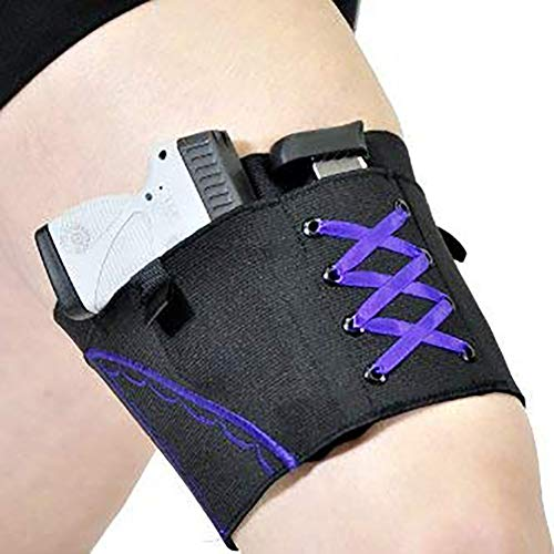 Kudden Woman Leg Holster Lady Anti-Slip Adjustable Six Hook-and-Eye Garter Pistol Holder -