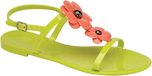 Coral Jelly Open Toe Flower Womens Slingback Sandals ALL SIZES
