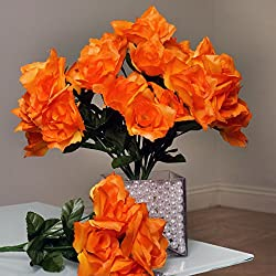 Efavormart 84 Artificial Open Roses for DIY Wedding Bouquets Centerpieces Arrangements Party Home Wholesale Supplies - Orange