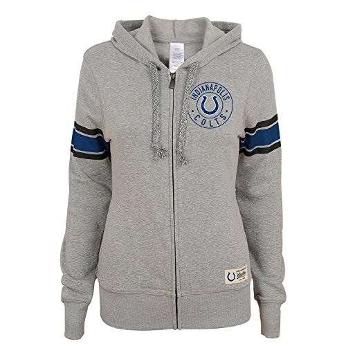 Indianapolis Colts Youth Full Zip (OuterStuff NFL Junior Girls Boyfriend Full Zip Hood, Indianapolis Colts, Heather Grey, S(3-5))