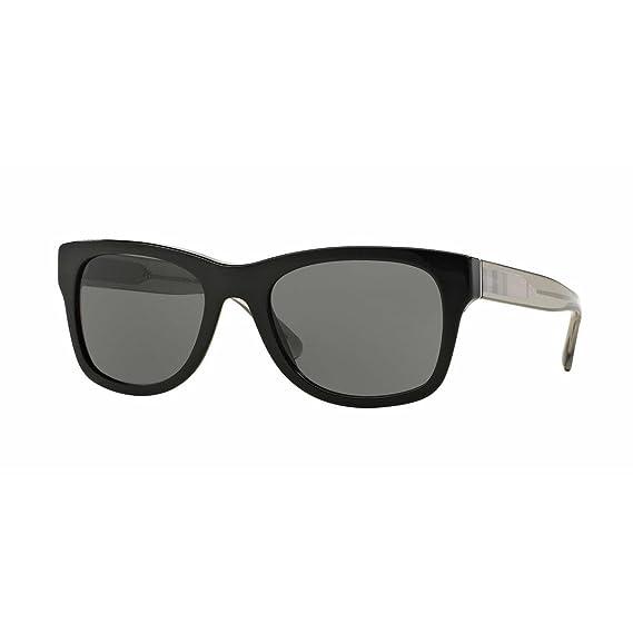 BURBERRY Unisex Sonnenbrille BE4211, Schwarz (Gestell: Schwarz, Gläser: Grau 300187), Medium (Herstellergröße: 55)