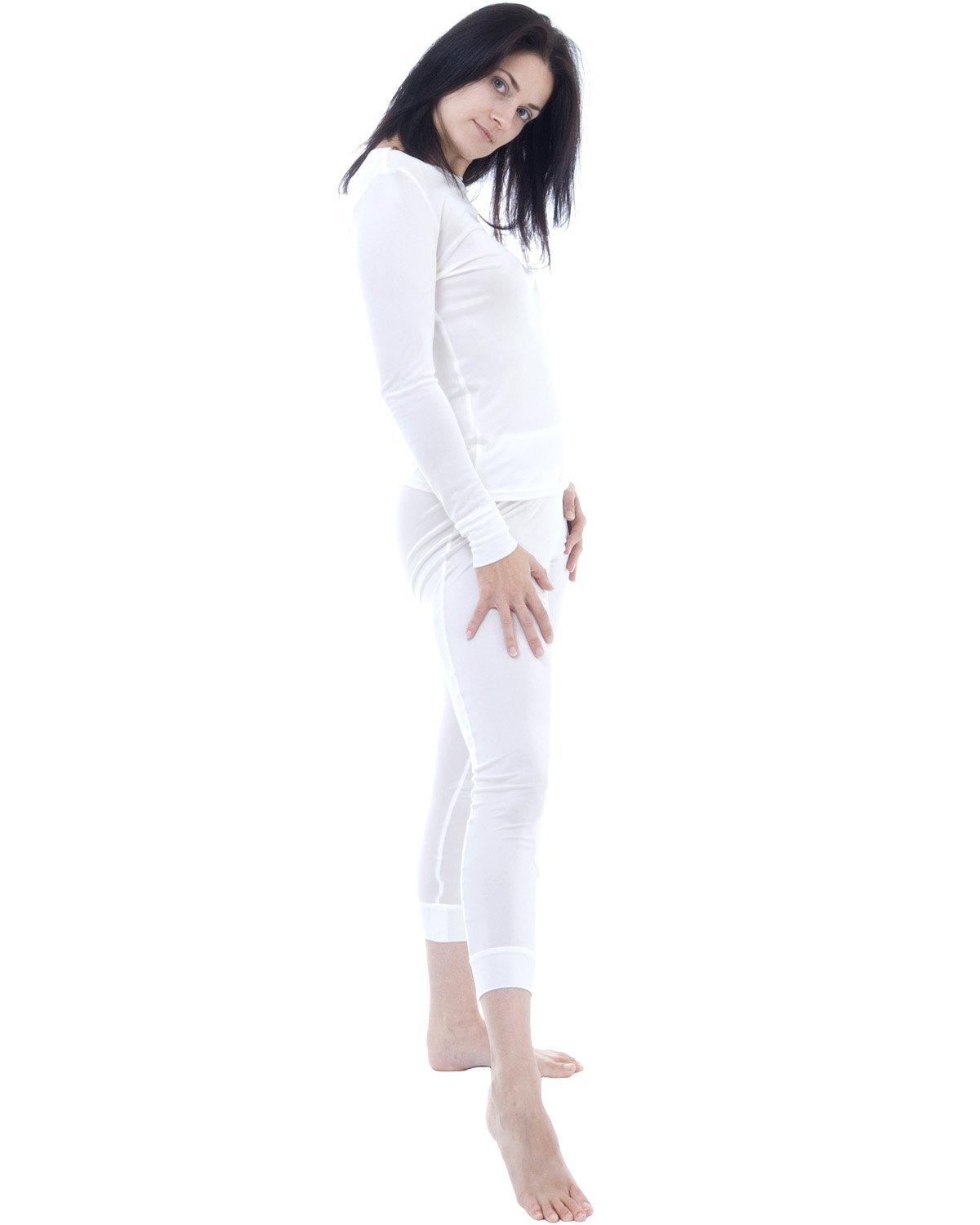 Silk thermal long john and top set - size: XL - colour: ivory white