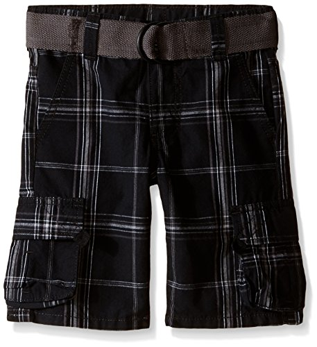Plaid Boys Shorts (Wrangler Big Boys' Fashion Cargo Shorts, Black Plaid, 8)