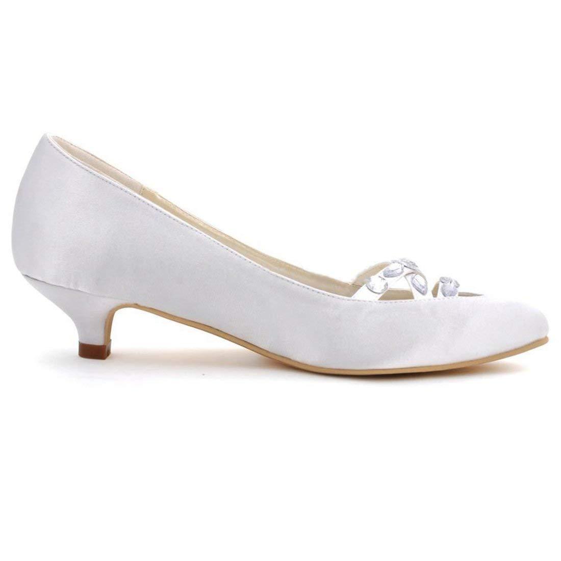 Qiusa Damen schöne Geraffte Knöchelriemen mit Knoten Satin schöne Damen Hochzeit Schuhe (Farbe   Weiß-6.5cm Heel Größe   2.5 UK) 9e2935