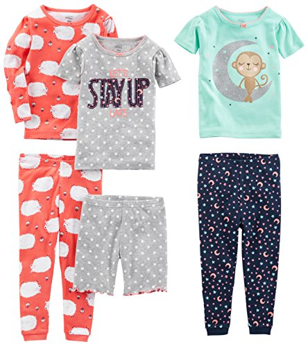 Simple Joys by Carter's Baby Girls' 6-Piece Snug Fit Cotton Pajamas, Sheep/Dot/Monkey, 6-9 Months