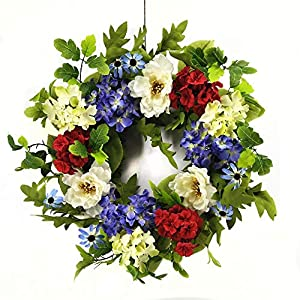 Wreaths For Door Lady Liberty Summer Front Door Wreath Red White Blue Patriotic Holiday Decoration Indoor Outdoor Decor for Spring Fall Memorial Day 4th of July Veterans Day 71