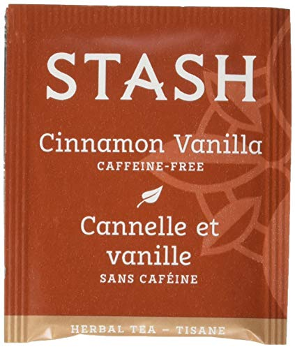 - Stash Tea Cinnamon Vanilla Herbal Tea 100 Count Tea Bags in Foil (packaging may vary) Individual Herbal Tea Bags for Use in Teapots Mugs or Cups, Brew Hot Tea or Iced Tea