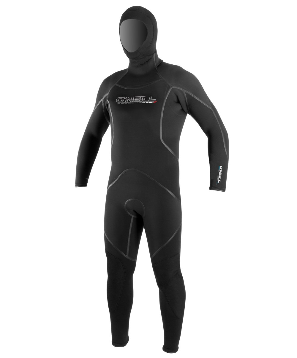 O'Neill Men's Dive J-Type 7mm Back Zip Full Wetsuit with Hood, Black, Large Short by O'Neill Wetsuits (Image #1)