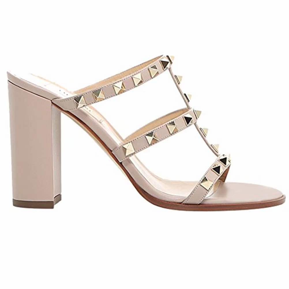 Chris-T Chunky Heels for Womens Studded Slipper Low Block Heel Sandals Open Toe Slide Studs Dress Pumps Sandals 5-14 US B07DH86BJ6 8.5 M US|Nude/4 in
