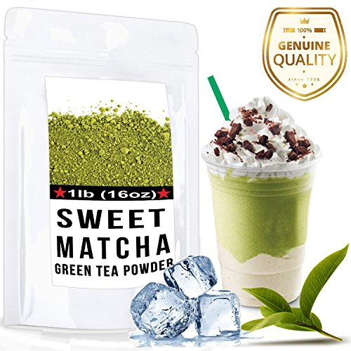 Sweet Matcha Green Tea Powder Mix- Made with 100% Organic Matcha - Perfect for Making Green Tea Latte or Frappe.