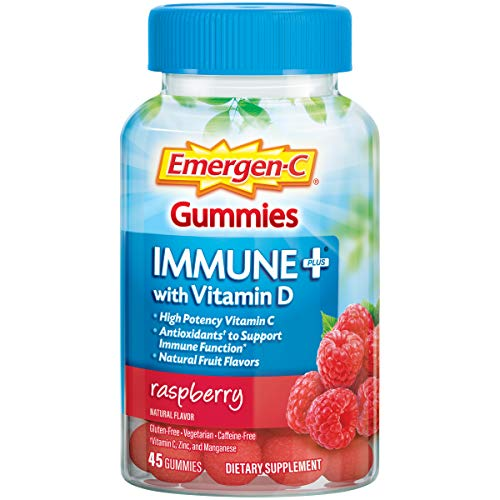 Emergen-C Immune+ Immune Gummies, Vitamin D plus 750 mg Vitamin C, Immune Support Dietary Supplement, Caffeine Free, Gluten Free, Raspberry Flavor - 45 Count