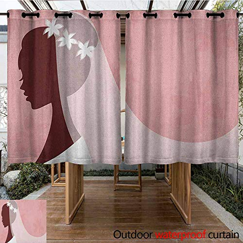 (AndyTours Outdoor Grommet Top Curtain Panel,Bridal Shower,Bride in Wedding Dress on Pink Backdrop with Veil Celebration Image,Curtains for Living Room,K140C100 Pale Pink and White)