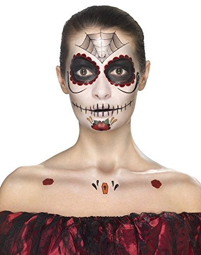 Smiffy's 41570 Day Of The Dead Face Tattoo Transfers Kit (one (Halloween Face Tattoos Uk)